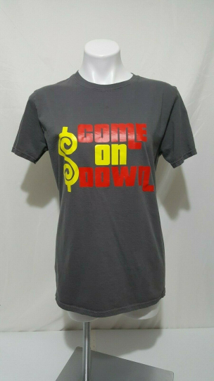 THE PRICE IS RIGHT Gray Game Show Logo T-shirt Come On Down Size Med