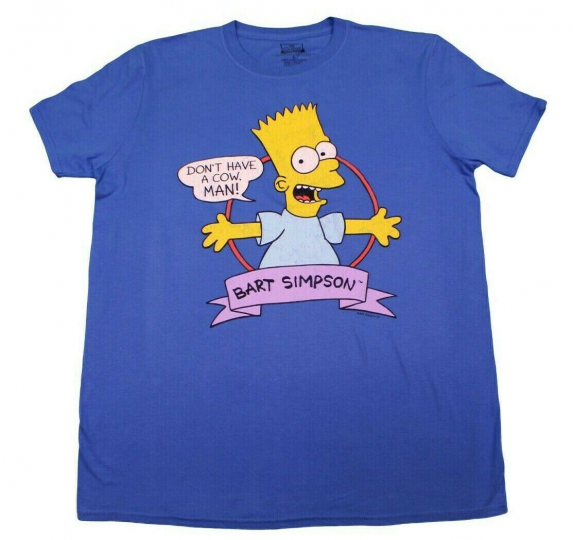 THE SIMPSONS BART SIMPSON DONT HAVE A COW T-SHIRT ROYAL BLUE DISNEYLAND TEE LG