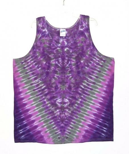 TIE DYE Tank Top Purple V Blotter sm m l xl 2x 3x hippie art boho grateful dead
