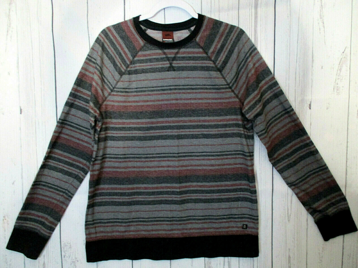 TONY HAWK Men's Gray & Red Striped Long Sleeve Thermal T-Shirt Size Large