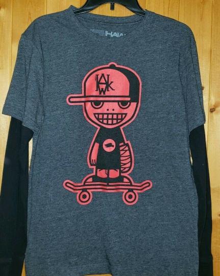 TONY HAWK Men's M Graphic LS T-shirt Gray/Black Sleeves, Red logo Skateboarder