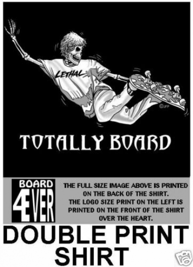 TOTALLY BOARD SKATEBOARD SKULL SKELETON T-SHIRT SK96D