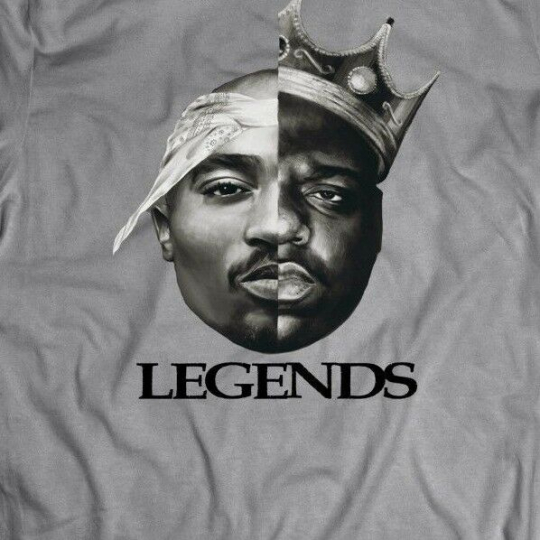TUPAC BIGGIE SMALLS MASH UP OLDSKOOL CUSTOM RARE DESIGN *FULL FRONT OF SHIRT**