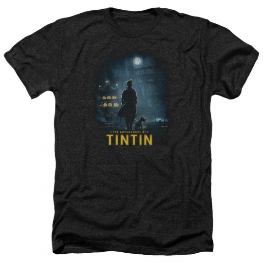 The Adventures of Tintin Movie TITLE POSTER Licensed Heather T-Shirt All Sizes