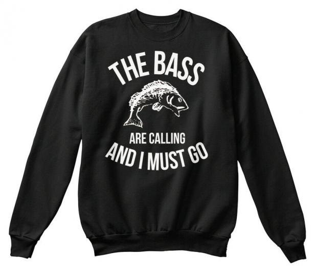 The Bass Are Calling I Must Go Fishing Witty Hanes Unisex Crewneck Sweatshirt