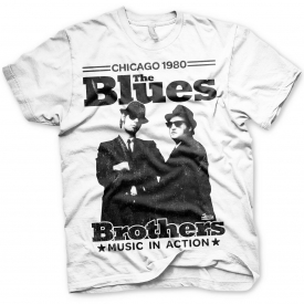 The Blues Brothers Jake and Elwood Chicago 80 Official Tee T-Shirt Mens