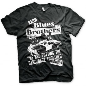 The Blues Brothers Jake and Elwood Police Car Official Tee T-Shirt Mens
