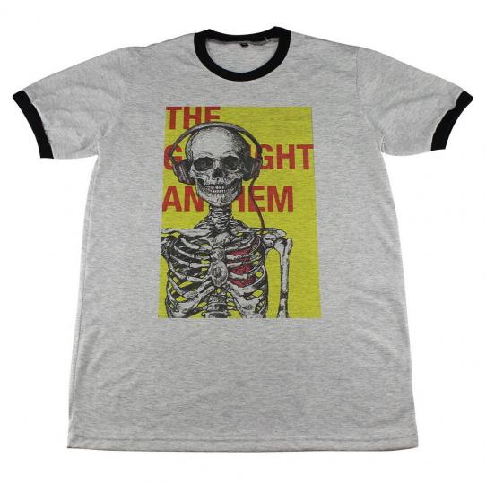 The Gaslight Anthem Skull DJ Punk Rock Pop Casual Retro >C093 Men Ringer T-Shirt