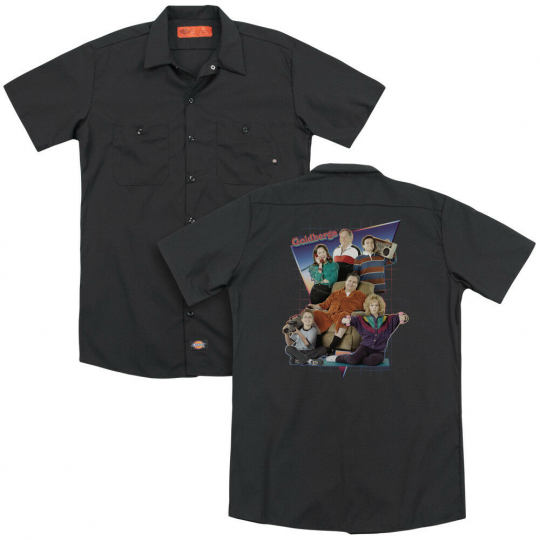 The Goldbergs TV Show Cast TOTALLY RAD FAMILY Adult Dickies Work Shirt All Sizes