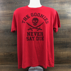 The Goonies Never Say Die Men's T-Shirt 404-2 Skull Cross Sword Pirate Red Large