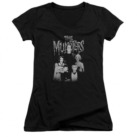 The Munsters TV Show FAMILY PORTRAIT Licensed Juniors V-Neck Tee Shirt