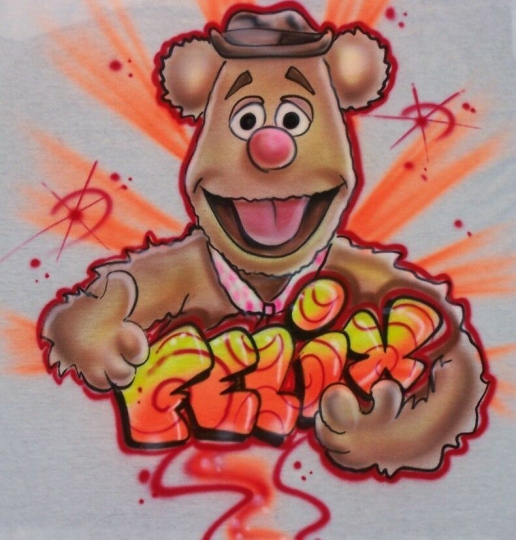The Muppets' Fozzy Bear Airbrush T-shirt - Personalized & Airbrushed w/YOUR Name