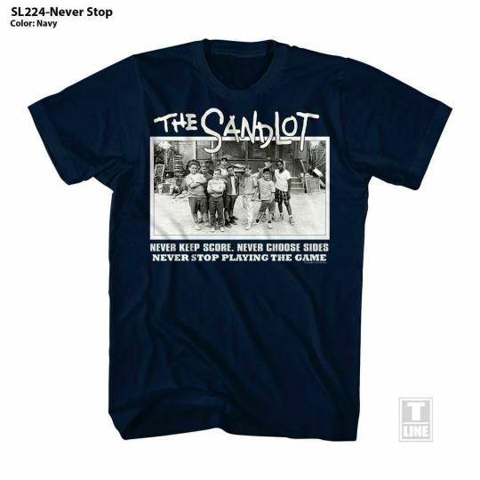 The Sandlot Never Stop Navy Adult T-Shirt