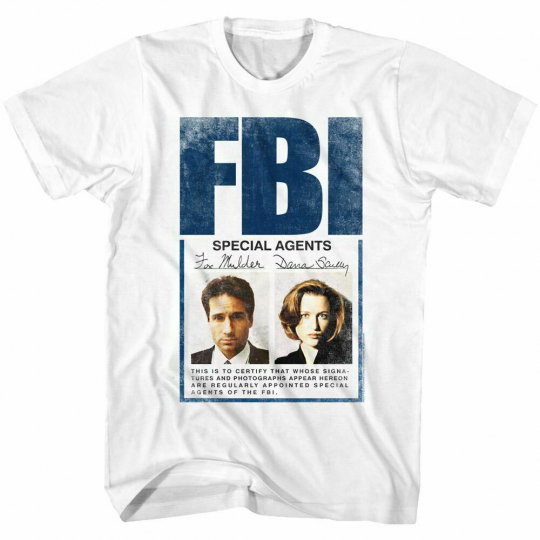 The X-Files TV Show Science Fiction T-Shirt White Cotton SM - 5XL SPECIAL AGENTS