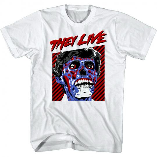 They Live Blue Alien Face Mens T Shirt Obey Horror Movie 80s Film John Carpenter