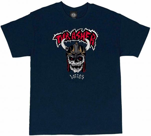 Thrasher Magazine x Lotties Men's Short Sleeve T Shirt Blue Clothing Apparel ...