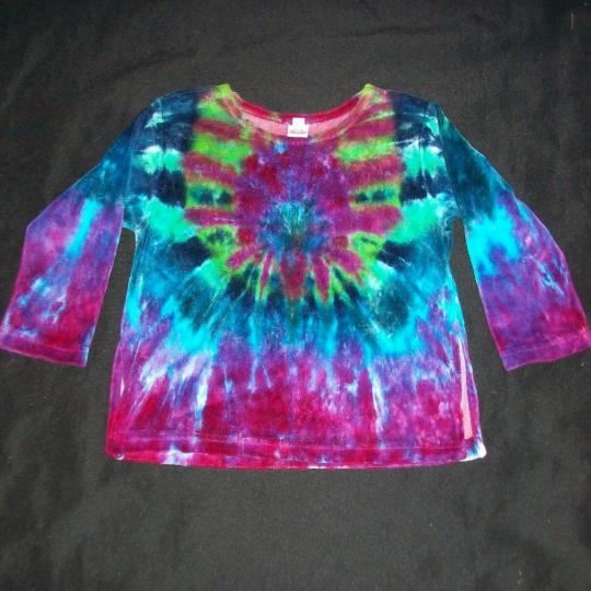 Tie Dye Velour Girl's Long Sleeve Shirt 4 Peacock Hippie Hand Tye Dyed 4T