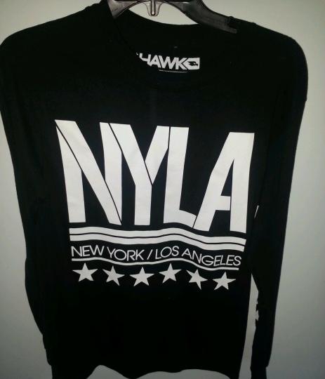 Tony Hawk Brand New York Los Angeles Black White Long Sleeve T-Shirt Size  M L