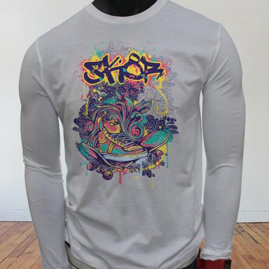 Tony Hawk Jackass Long Board Crazy Punk Skater Mens White Long Sleeve T-Shirt