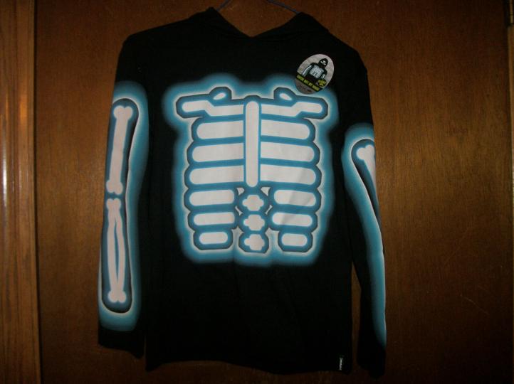 Tony Hawk  skeleton Hooded fask mask long sleeve  Black  TShirt NWT Small 8