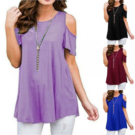Tops Plus Size Casual Loose Womens T Shirt USA Cold Shoulder Blouse Tee Summer