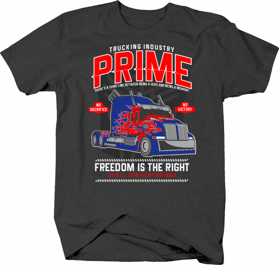 Transformer Prime Trucking Hero for Freedom Action Movies Tshirt