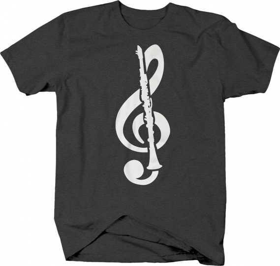 Treble clef clarinet band instrument music notes pitch T-shirt for men women