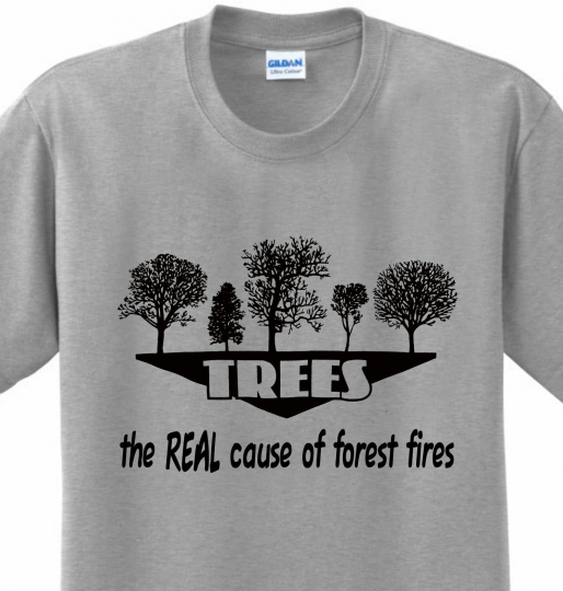 Trees Cause Forest Fires Funny Sayings Nature Green Joke Novelty Tshirt Any Size