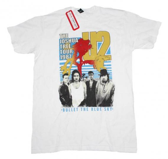 U2 Bullet the Blue Sky Joshua Tree Tour 1987 Rock Music Band Men's White T-Shirt