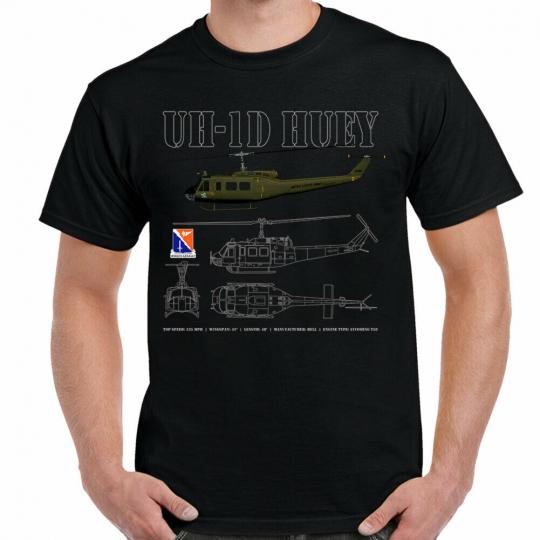 UH-1D Huey Schematic Black T-Shirt