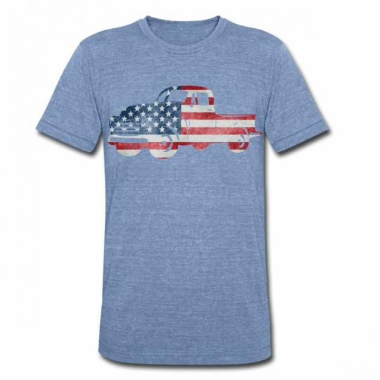 USA Flag American Truck Unisex Tri-Blend T-Shirt