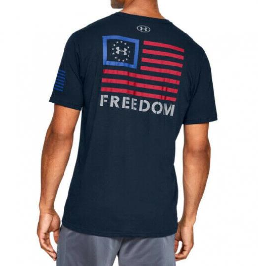 Under Armour UA Freedom Banner Men's HeatGear® Cotton Navy Blue Red T-Shirt