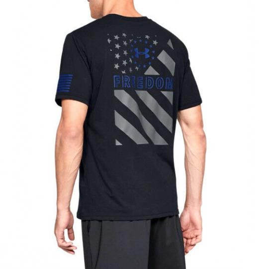 Under Armour UA Freedom Express Men's HeatGear® Cotton Black Gray Blue T-Shirt