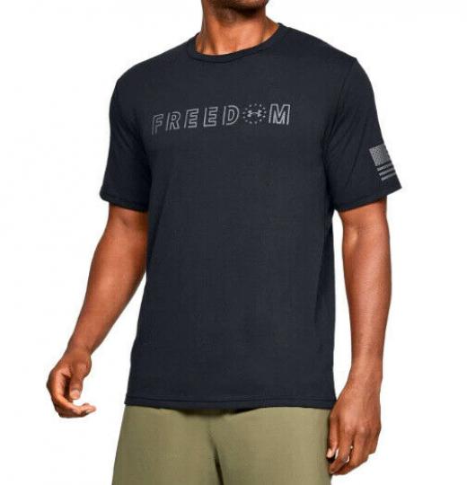 Under Armour UA Freedom Flag Bold Men's HeatGear® Cotton Tonal Black T-Shirt