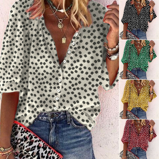 V-Neck Women Casual Half Sleeve Button Down Dot T Shirt Loose Tops Blouse Office
