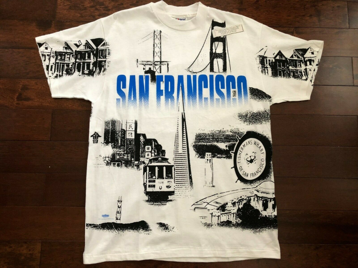 VINTAGE DEADSTOCK 1991 SAN FRANCISCO TOURIST TEE L T SHIRT WINTERLAND USA NEW