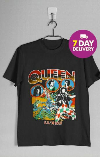 VINTAGE RARE Queen 1978 Tour Band T-shirt Black Cotton Full Size