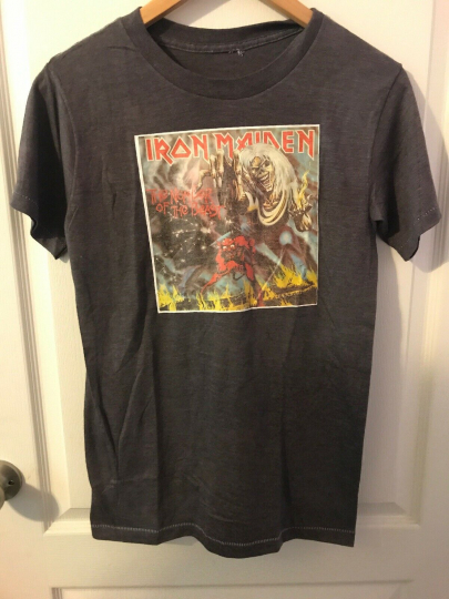 VTG '82 Iron Maiden THE NUMBER OF THE BEAST Heavy Metal Band T-Shirt Size M