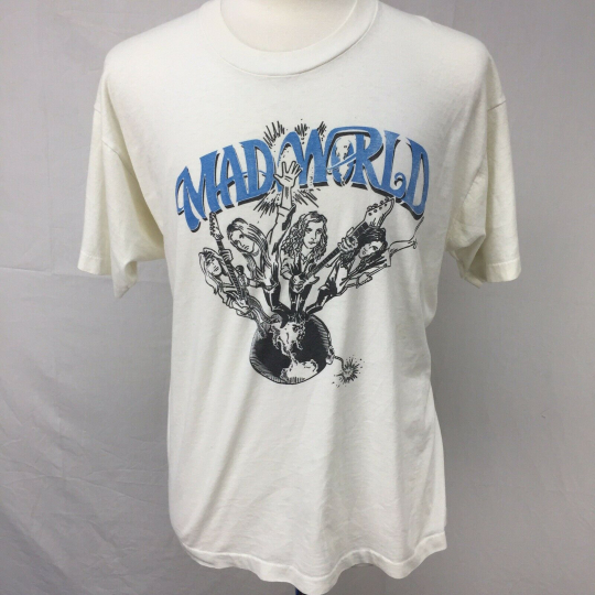 VTG 1993 Mad World Band Get Down Turn It Up Tour Grunge Mens T Shirt XL USA 90s