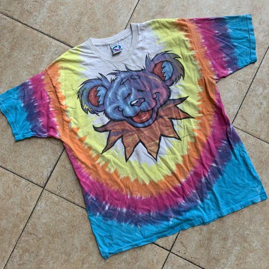 VTG 1999 Grateful Dead Liquid Blue Tie Dye Dancing Bear T-Shirt XL 24.5x30.5 EUC