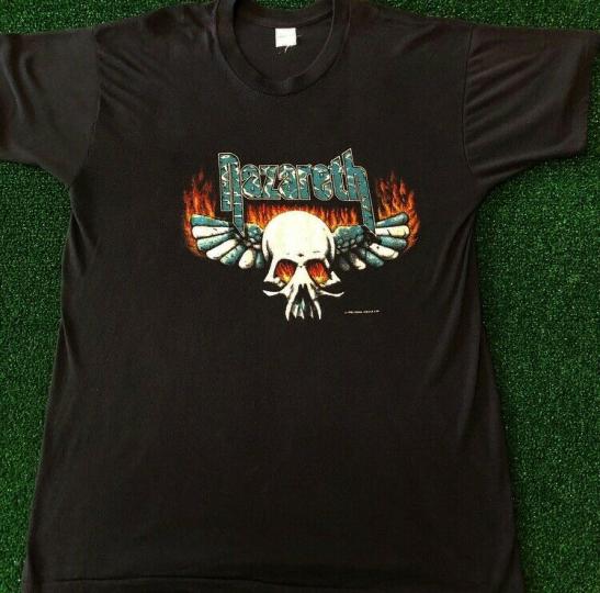 VTG 80s 90s Nazareth Band Tee 1982 Tour Rare Vintage Rock Shirt Size XL Flames