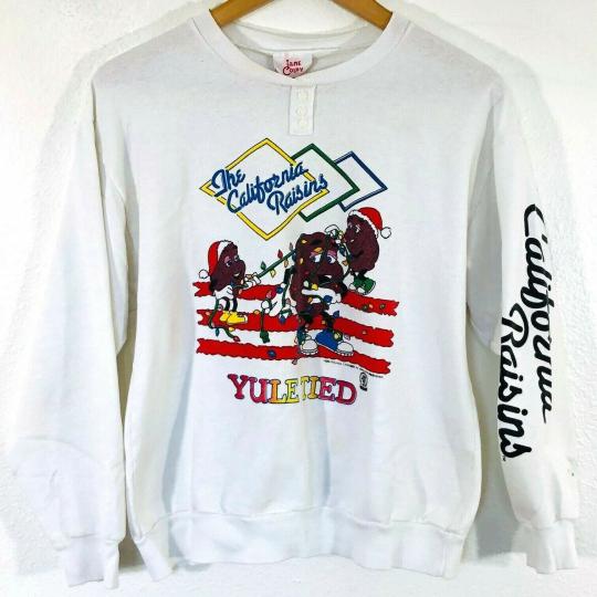 VTG 80s The California Raisins YULE TIED White Crewneck Sweatshirt Womens XL