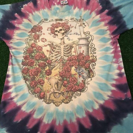 VTG 90s 1995 Grateful Dead Band Tee Liquid Blue Tie Dye Rare Vintage Tour Shirt