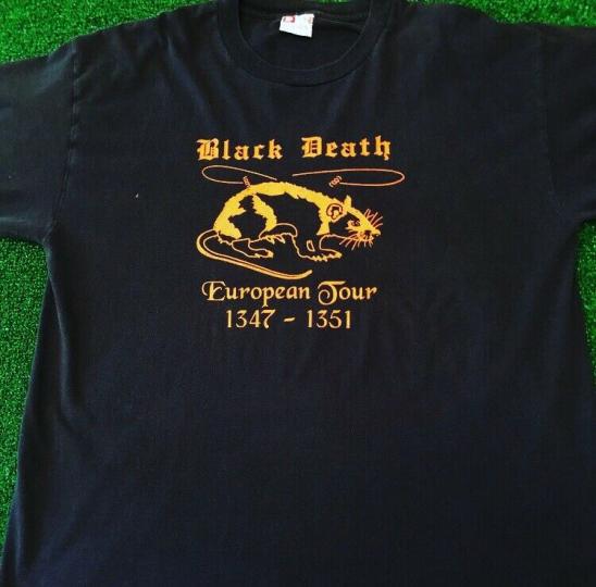 VTG 90s Black Death European Tour Rare Vintage Black Plague Rock Band Tee Shirt