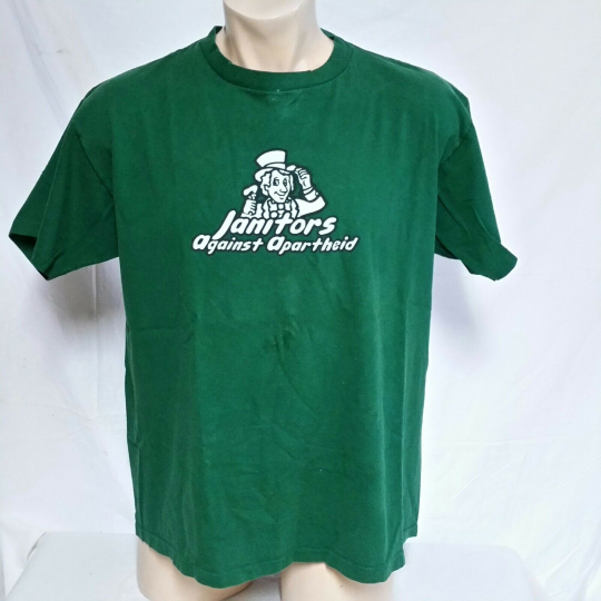 VTG 90s Janitors Against Apartheid T Shirt Rock Tee Band Punk Ska Independent XL