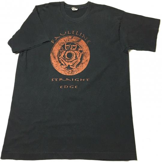 VTG Faultline Straight Edge Band T Shirt Black Single Stitch 90s