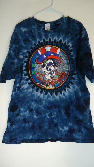 VTG Grateful Dead Blue Tie Dye Tee T Shirt 2XL Vintage Skull Skeleton Uncle Sam