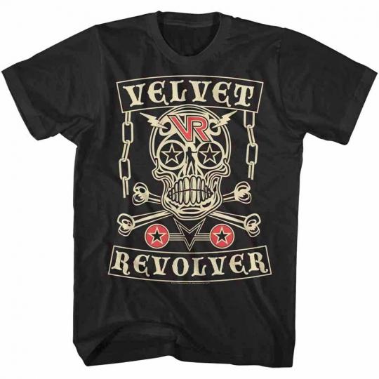 Velvet Revolver Skull Album Cover Men's T Shirt Stars Metal Rock Band Tour Merch
