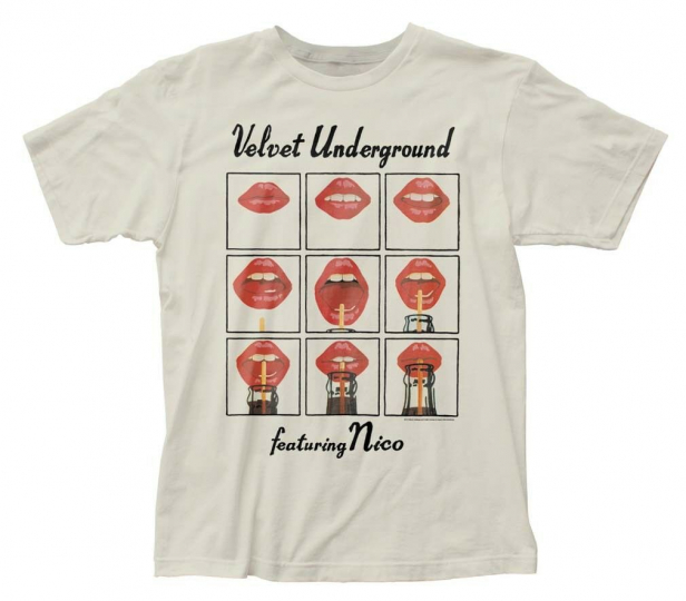 Velvet Underground Featuring Nico Lips Drinking Rock Band Men's White T-Shirt