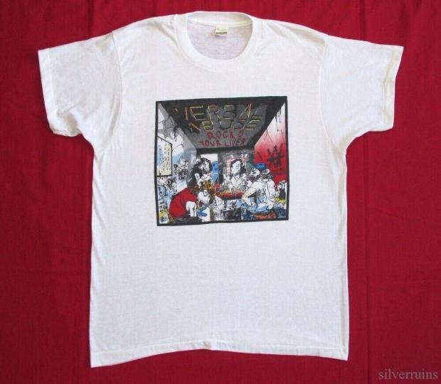 Verbal Abuse Vintage T Shirt 80's 1986 Rocks Your Liver Tour Lp Logo Thrash Punk